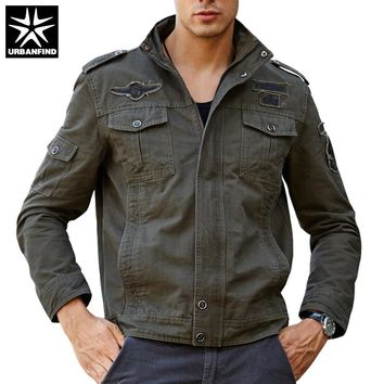 URBANFIND Military Style Men Fashion Pilot Jacket Plus Size M-6XL Multi Pocket Decoration Man Autumn Spring Coats 4XL 5XL 6XL