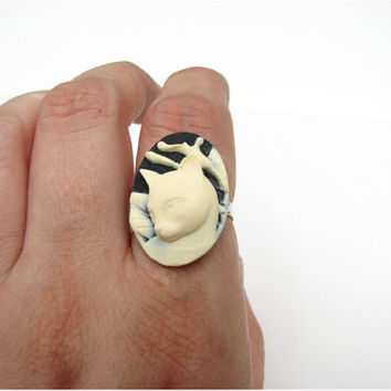 cat ring - black and cream