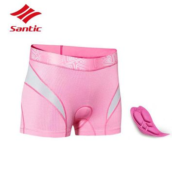 Santic 2018 Cycling Shorts Women Underwear Pro Gel Pad Outdoor Sport Bicycle Bike Shorts Breathable Quick Dry  Bermuda Ciclismo
