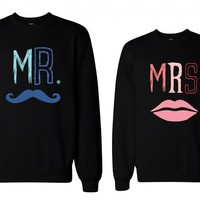 365 In Love His and Her Mr Mustache and Mrs Lips Matching Sweatshirts for Couples