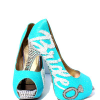 Tiffany Blue Crystal Glitter Bridal Heel