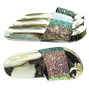 Creative02 Blue Green Glitter Holograph Slipper, Metallic Molded Footbed, Waffle Outsole
