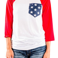 Women's Patriotic Pocket Raglan Tee