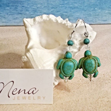"Earrings: 925 Sterling Silver, Turquoise Turtles  & Swarovski Elements "" Nautical Bliss""   By ANena Jewelry"
