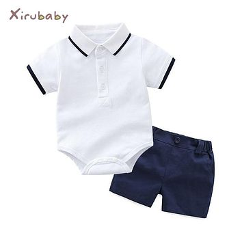 Xirubaby baby boy clothing sets 2018 summer newborn boy t-shirts romper+shorts 2pcs sport suit infant boys casual outfit sets