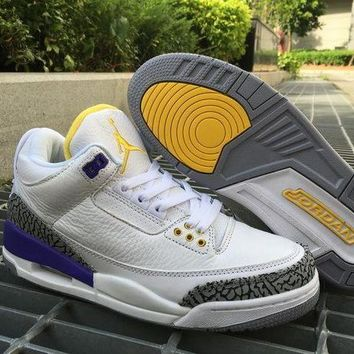 DCCKL8A Dicount Air Jordan Retro 3 White Purple With Yellow AJ3 Cheap Sale JD 3 Men Sports Basketball Shoes