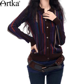 Artka Women Autumn Vintage Casual Scoop Neck Full Sleeve Single Breasted Striped Mid-Long Wool Sweater Cardigan YB16034D