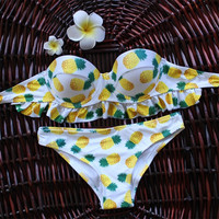 New Pineapple Print Bikini Brazilian Push Up Bikinis Retro Bandage Halter Swimsuits Swimwear Thong Biquini Brasileiro 2016