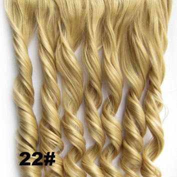 Clip in synthetic hair extension hairpieces 5 clips in on wavy slice hairpiece GS-888 22#,60cm,130grams,16 colors available 1pcs