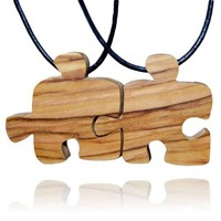 Handmade Olive Wood Two Friends Puzzle Piece Friendship Necklaces
