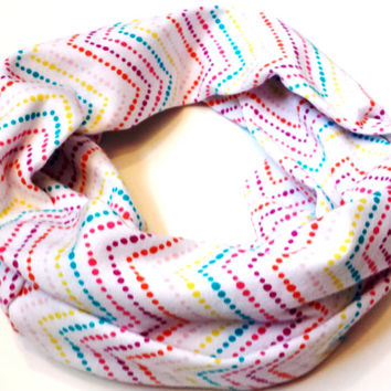 Rainbow Dotted Chevron Toddler Tube Scarf Young Girls Fashion Infinity Scarves for Babies Kids Circle Scarf Chevron Baby Scarf