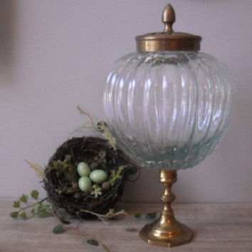 upcycled Pedestal ginger jar  Apothecary jar  by MamaLisasCottage