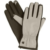 Isotoner SmarTouch Medium Women's Nylon Gloves for iPod, iPhone and iPad - Platinum