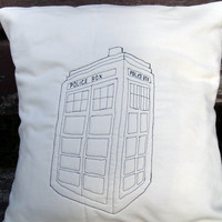 Dr Who TARDIS cushion cover by MrTeacup on Etsy