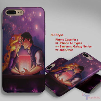 Tangled Romantic Rapunzel - Personalized iPhone 7 Case, iPhone 6/6S Plus, 5 5S SE, 7S Plus, Samsung Galaxy S5 S6 S7 S8 Case, and Other