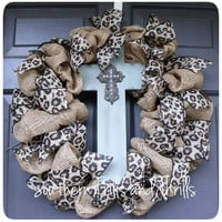 Burlap Cross Wreath with Cheetah Burlap Ribbon