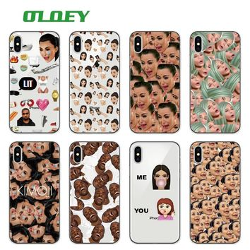 Kimoji Kim Kardashian kanye west north kylie jenner Soft TPU Phone Case Cover Coque For iPhone 7Plus 7 6 6S 5 5S 8 8Plus XS Max