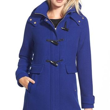 Women's Ellen Tracy Toggle Wool Blend Twill Duffle Coat,