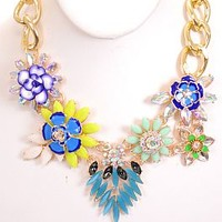 Floral Statement Necklace, Blue