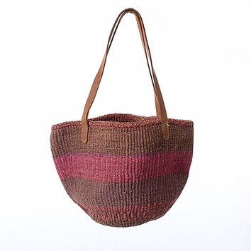 Vintage Tribal Leather Bag Woven Sisal Bucket Bag Ethnic Hippie Market Woven Straw Boho Kenya Handbag Coachella Festival Tote