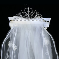 Cross & Heart Rhinestone Crown Tiara with Floral Embroidered White Veil First Holy Communion (One Size Girls)