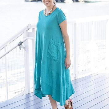 Shark-bite Linen Dress
