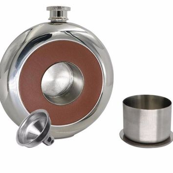 Polished round flask with concealed shot glass