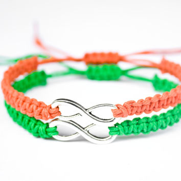 Infinity Friendship or Couples Bracelets Orange and Green