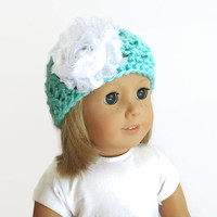 AG Doll Hat, Knit Doll Hat, Flower Beanie