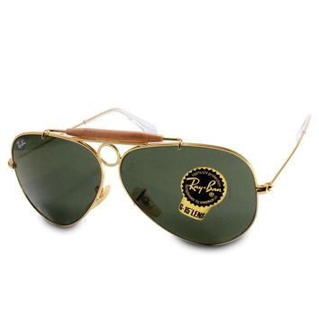 Ray-Ban RB3138 001 Aviator Shooter Gold/Green Unisex Sunglasses Size 58 & 62
