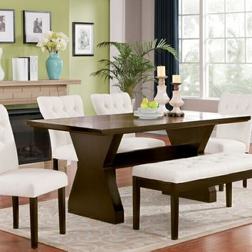 Acme 71515-23-42 6 pc Effie walnut finish wood dining table set with beige upholstery