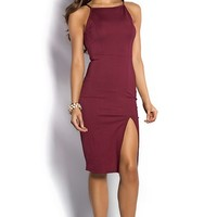 Rashida Cranberry Red Simple Elegant Sheath Cocktail Dress with Leg Split