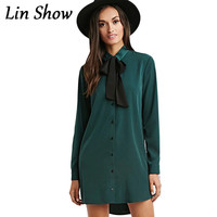 Casual Loose Women Shirt Dress New 2016 Fashion Spring Solid Bowknot Woman Clothes Autumn Long Sleeve Lapel Mini Ladies Dresses