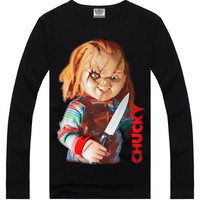 Black Hipster 3D Chucky Print Long Sleeve T-Shirt