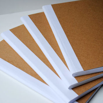 Plain Brown Doodling Composition Notebook With White Binding - Set of 4