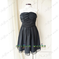 2014 Strapless chiffon pleated mini Evening/Party/Homecoming/cocktail dress/Bridesmaid/Formal Dress