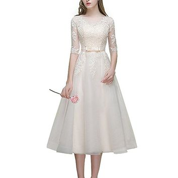 Women's Tulle Bateau 3/4 Sleeves Tea Length Foraml Party Dress With Lace Appliques
