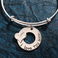 I Love You More Adjustable Expandable Silver Plated Bangle Bracelet One Size Fits All