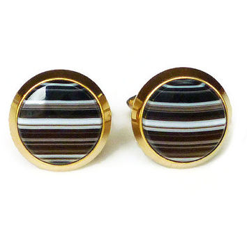 Correct Quality Cufflinks, Banded Agate, Quartz Stone, 12k Gold Filled, Krementz, Mens Cufflinks, Vintage Jewelry