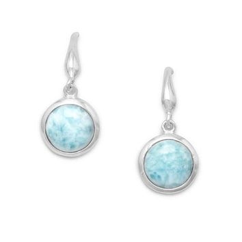 Sterling Silver Round 10mm Larimar Dangle Earrings