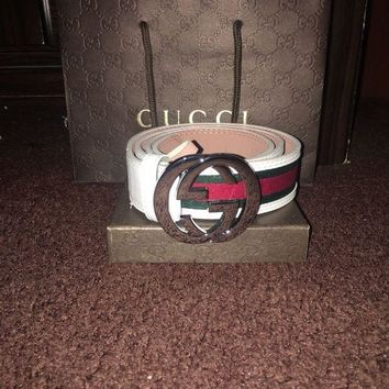 DCCKIN4 Gucci Mens White Signature Web Belt 46/115
