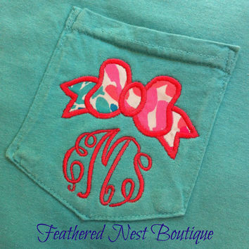Lilly Pulitzer Monogrammed Bow Pocket Tee Long Sleeved Shirt