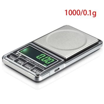 New Jewelry Scales Weigh Digital LCD Display Electronic Pocket Scale 1000 0.1G USB Charge Kitchen Scales