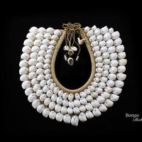 White Shell Necklace.Tribal New Guinea Large Circular Necklace Decorated With Four Bands Of White Shells.Choker Woven Nautical Neck Ornament
