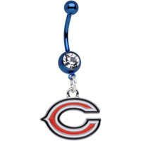 Officially Licensed NFL Clear Gem Blue Chicago Bears Dangle Belly Ring | Body Candy Body Jewelry