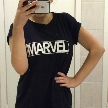 New 2016 Women Harajuku T-shirts MARVEL Letter Print T Shirts Casual Plus Size Clothing Tumblr Tops Tees Shirts Poleras Mujer