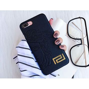 Versace 2018 New Fashion Brand iPhone 6/7/8/X Phone Case F-OF-SJK Black