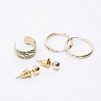 Hoop Earrings and Ear Cuff Multipack in Gold - Urban Outfitters