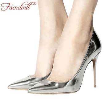 FACNDINLL shoes quality sexy high heel gold party wedding shoes 2017 women pumps class