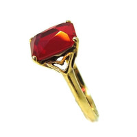 Vintage 10k Lab Ruby Art Deco Ring 4 Carats